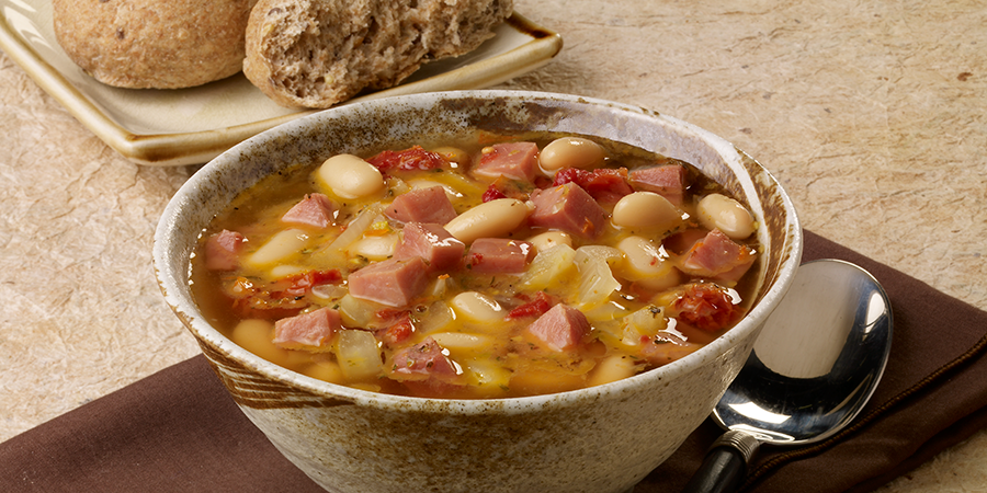 Sun-Dried Tomato, White Bean and Ham Soup