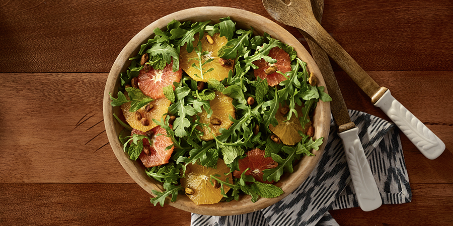 Arugula-Mint-Orange Salad with Champagne Vinaigrette