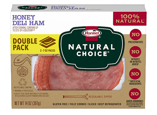 HORMEL<sup>®</sup> NATURAL CHOICE<sup>®</sup> Honey Deli Ham DOUBLE PACK
