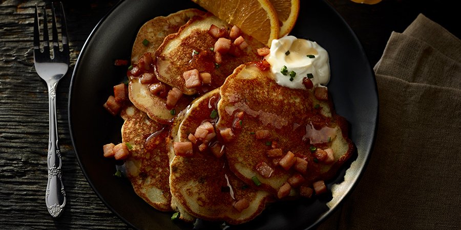 Canadian Bacon-Potato Pancakes