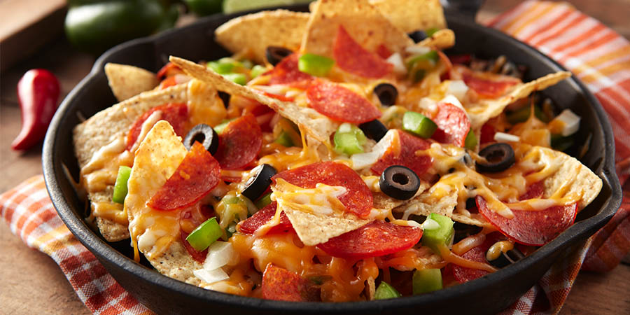 Loaded Pepperoni Skillet Nachos