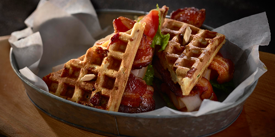 Pecanwood Bacon and Chicken Waffles