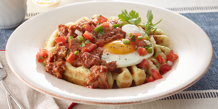 <strong>Barbeque Pork Rancheros Waffles</strong>
