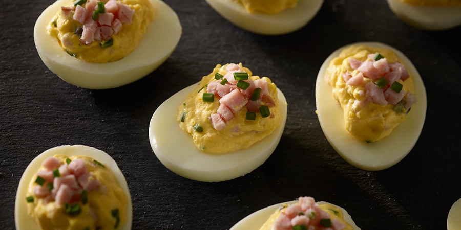 Deviled Eggs with Canadian Bacon