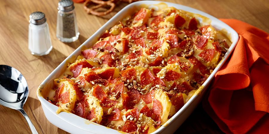 The Cheesiest Potatoes with Crushed Pretzels and Pepperoni
