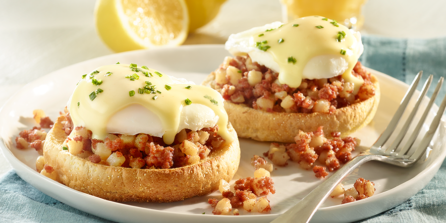 Eggs Benedict with Corned Beef Hash