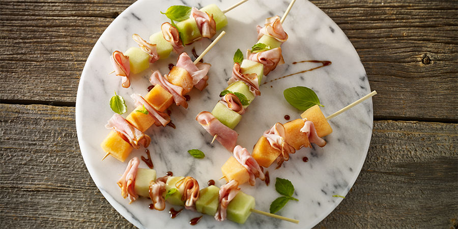 Ham and Melon Skewers
