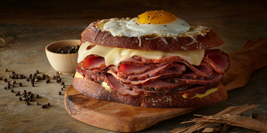 <strong>Pecan Smoked Sweet Black Peppered Ham Croque Madame</strong>