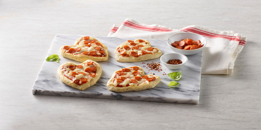 Pepperoni Heart-Shaped Mini Pizzas