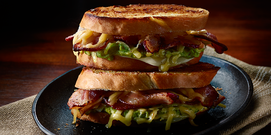 Grilled Cheese, Bacon and Guacamole Sandwich