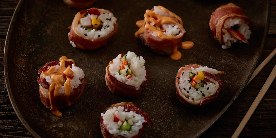 Bacon Wrapped Sushi