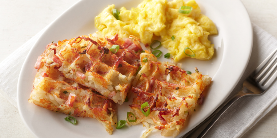Ham and Cheese Waffled Hash Browns