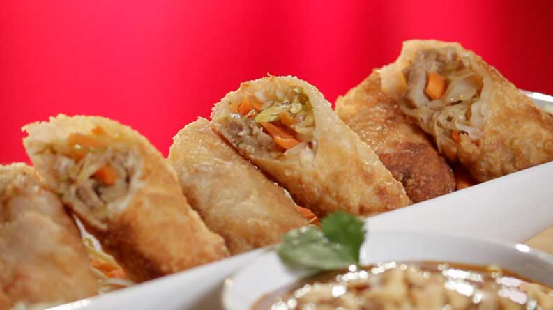 Pork Egg Rolls with Peanut Dipping Sauce