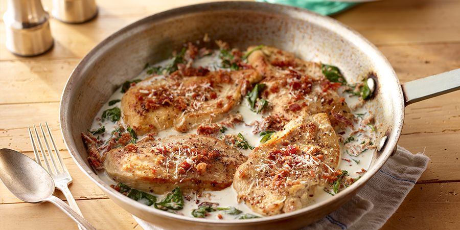 Creamy One Pan Mustard Bacon Chicken