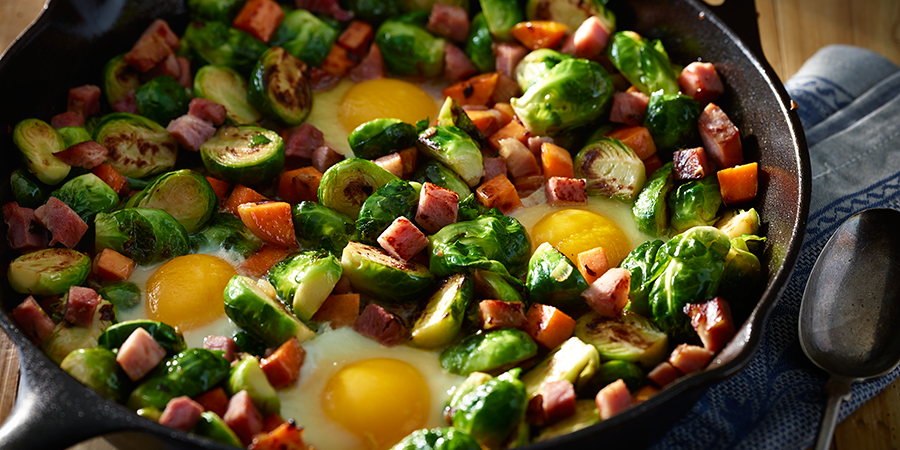 Brussel Sprout Hash with Sweet Potato and Ham