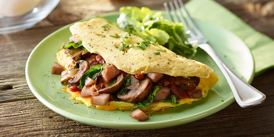 Bacon, Ham and Cheese Omelet