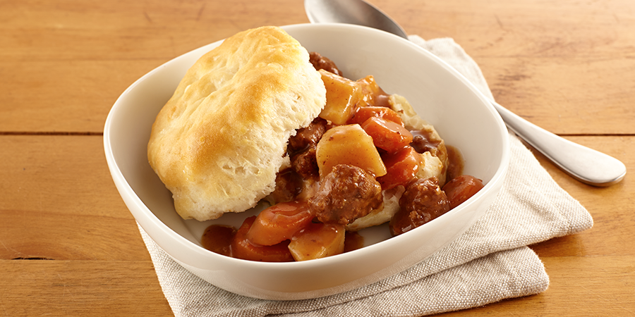 Beef Stew over Biscuits