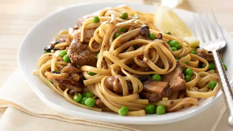 Pork, Mushroom and Pea Linguine