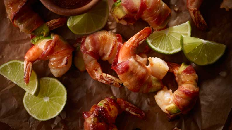 Bacon-Wrapped Shrimp and Avocado