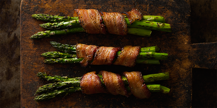 Maple Black Pepper Bacon Wrapped Asparagus
