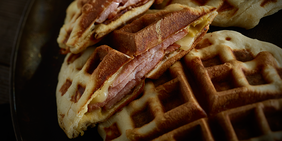 Canadian Bacon and Cheese Waffle Sandwiches