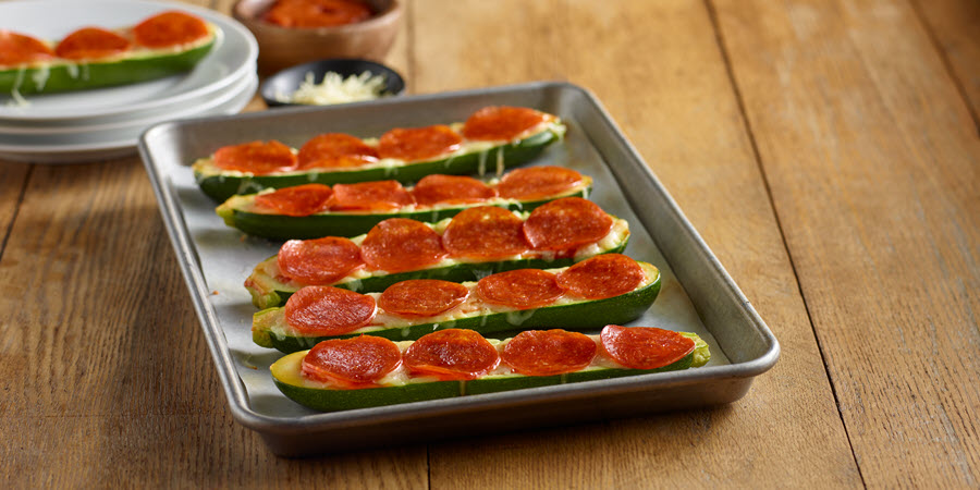 Uncured Pepperoni Zucchini Boats