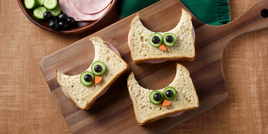 Ham and Cheese Owl Sandwiches