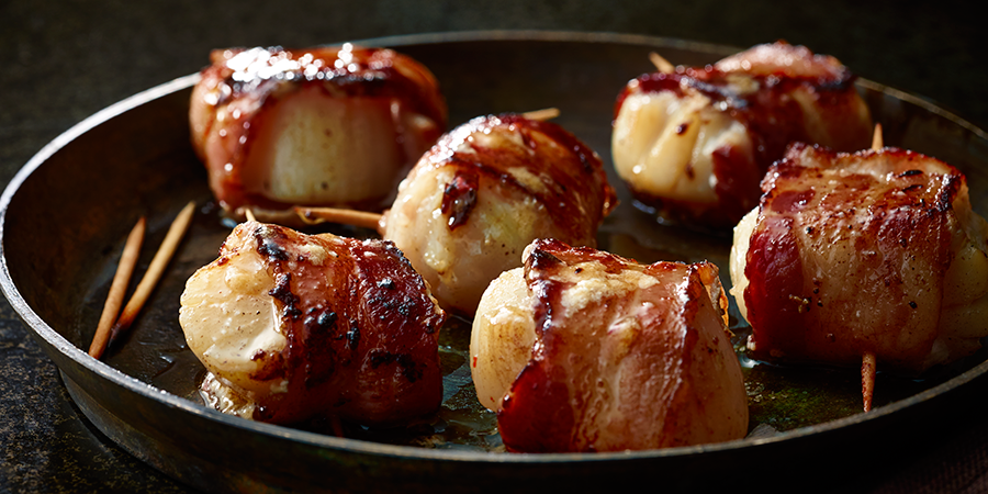 Bacon-wrapped Chili-butter Scallops