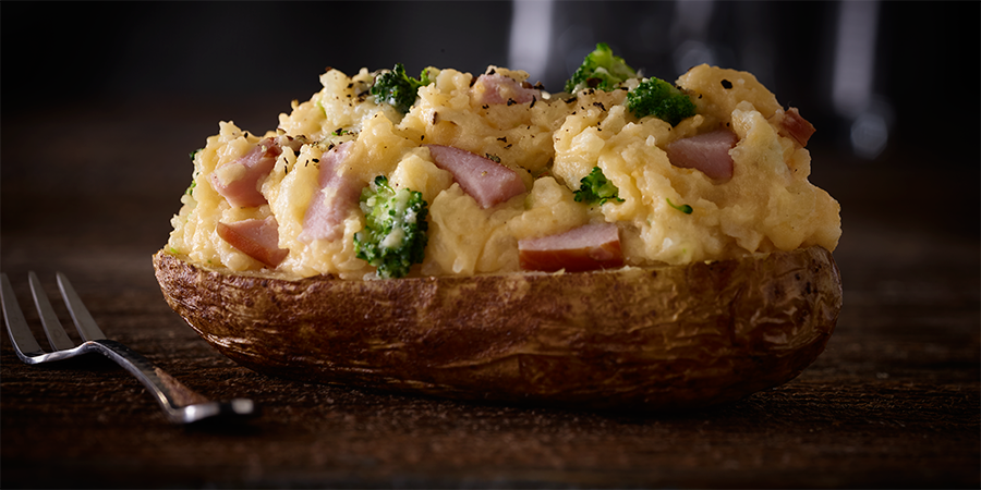 Twice Baked Potato with Canadian Bacon