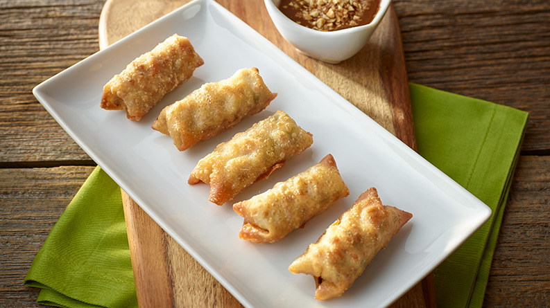 Turkey Egg Rolls with Peanut Dipping Sauce